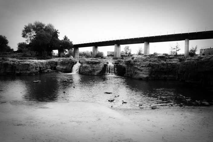 Bridge Waterfall River Black White Sioux Falls