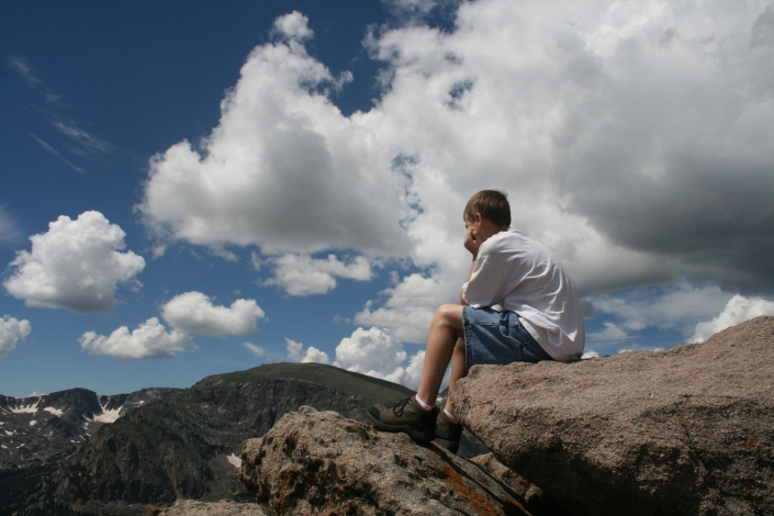 Colorado Mountains Boy People Blue Sky Clouds