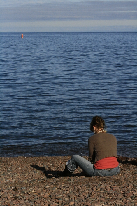 Fall Lake Superior Duluth Woman People