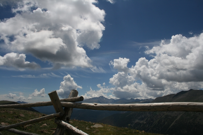 Fence Colorado Mountains Clouds Blue Sky