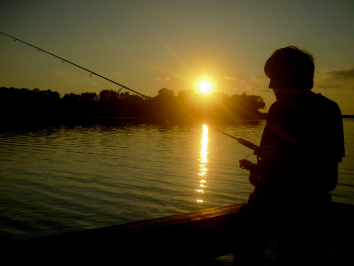 Lake Sunset Boy People Minnesota Summer Fishing