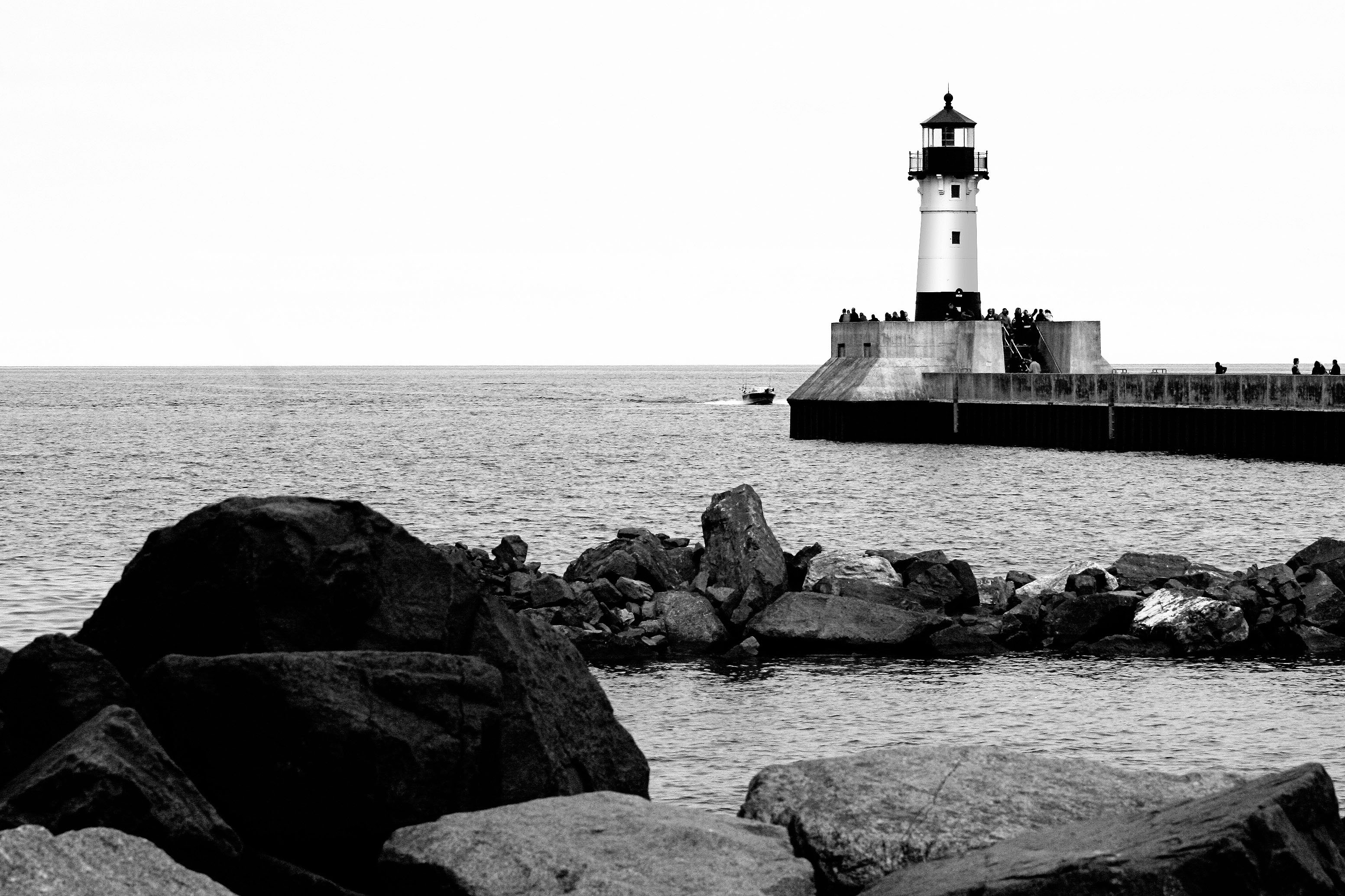 Lighthouse Duluth Harbor Black White Rocks Shore Lake Superior