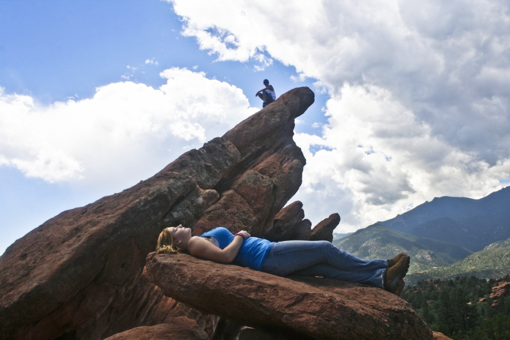 Red Rocks Colorado People Recline Heights Perspective